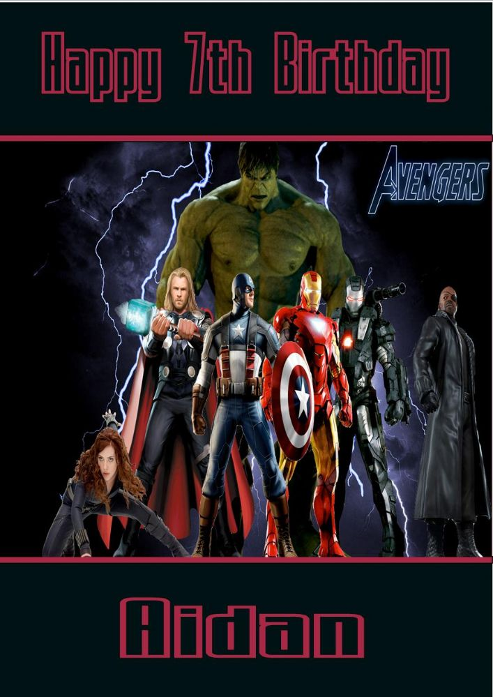 Personalised Avengers Birthday Card Design 1
